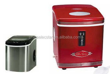 Mini ice maker with red color for home and office use