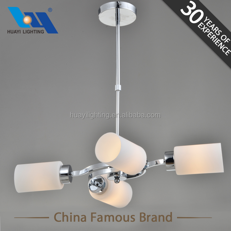 Modern Metal chrome and White glass Chandeliers Pendant Lights
