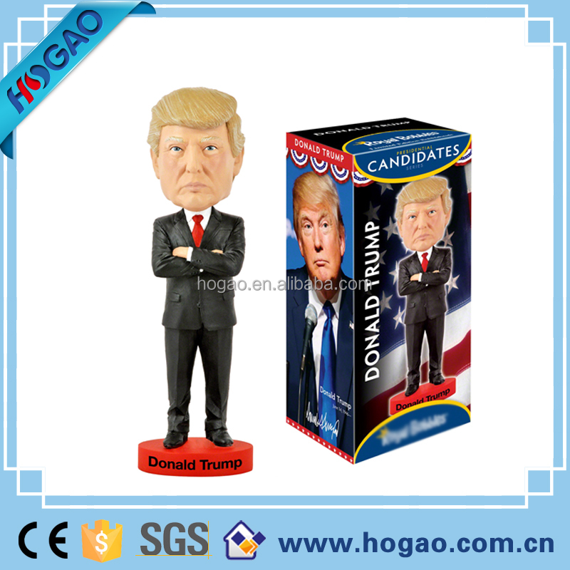 2016 new wholesale resin 7 inch figurines donald trump bobble head