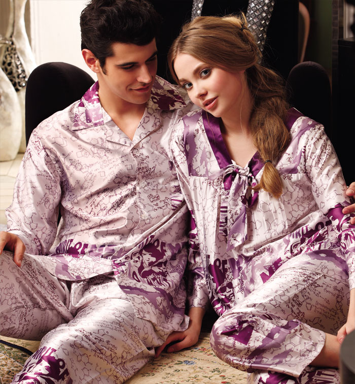 Silk Couples Long Sleeves Sexy Girl Pajama