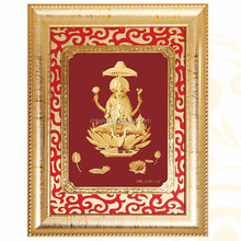 3D gold foil ganesh with carving mount frame hot selling in dewali ganesh 3d photos