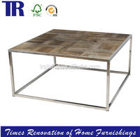 RecycleElm Crisscross Jointing Dining Table,STAINLESS STEEL Dining Table,Square Wood Dining Table