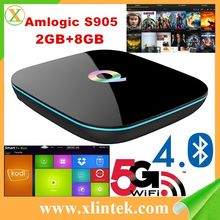 2016 nueva Q CAJA de CAJA de la TV Android 5.1 Piruleta Kodi totalmente cargado S905 XBMC con Amlogic 2 GB/8 GB Wifi LAN 4 k tv Streaming Media Playe