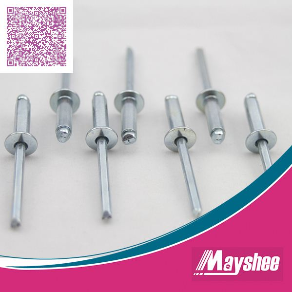 Open end galvanized all iron different size rivet