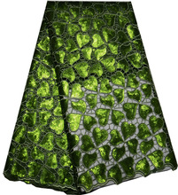 Top Quality Army Green African Organza lace fabrics/dubai french lace with Sequins for party(F4285)