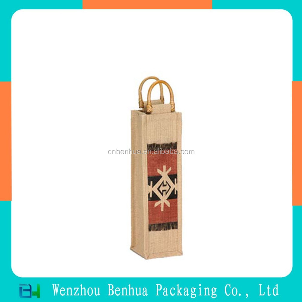 Custom Promotional Gift Wine Bottle Jute Bag