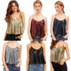 Women's 100% Polyester Deep V Neck Summer Spaghetti Straps Sparkle Tank Vest Sequins Halter Tops For Party Special Occasion