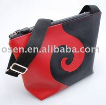 Chaos and Creation Swirl Black and Red Medium Shoulder Bag/ genuine leather bag