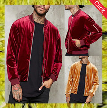2017 new fashion custom velour oem men velvet bomber jacket mens chinese wholesale clothing manufacturers