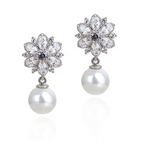 5980 Austrian CZ Crystal Earrings Flower Design Pearl Earring