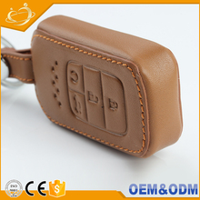 Customize Car Logo Key Case Holder High quality Durable Leather Car Key Cover With 4 Button Leather Car Key Bag for Honda civic