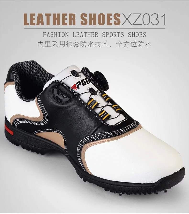 top quality men's golf shoes/fancy water proof black cowhide golf shoes/amazing golf shoes