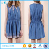 High quality embroidered round collar sleeveless casual minidress