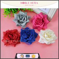 Multifunction plastic fabric/lace rose flower elastic hair band /hair clips for kids