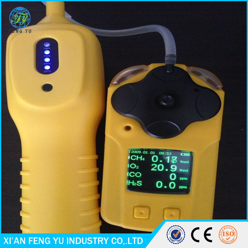 Portable pumping type 4 gases multi gas detector CO, O2, H2S, CH4 LEL