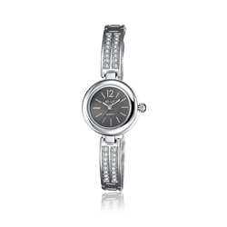 SJWHYYL0007-2 SJ New Products on Sale Double Rows Crystal Watches Black Watch Strap Samll Dial Silver Ladies Quartz Watch