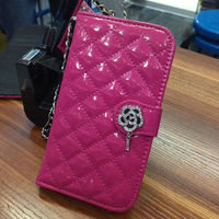 luxury diomand flower leather case for SAMSUNG Galaxy S4 case rhinestone shinning case