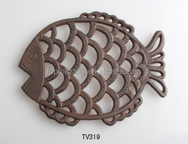 cast iron decoration fish trivet