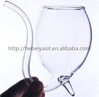 handle transparent glass tea/juice/coffee/wine cup with straw