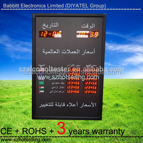 6 rows 6 columns Led exchange rate panel board with 45 cm moving message /BABBITT /Babbitt Diyatel, Model No. BTR-1568(R)