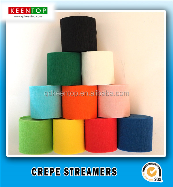 Assorted Color Crepe Streamer Paper for Party Football Game Streamer