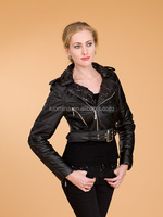 Women half jacket with belt leather jacket for women