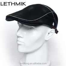 LETHMIK Leather Ivy Cap Strap Closure Low Crown Flat Cap for Driving Golf and Outing