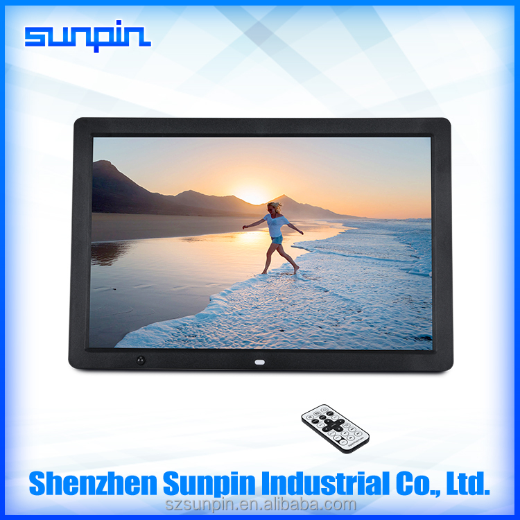 manufacture 17 inch wall mounted lcd advertising screen digital photo frame with usb card video player