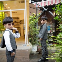 KS10233B Model kids 3 piece suit new design boys formal wear check pattern child suit