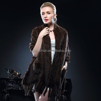 2017/2018 New Product Genuine Knitted Mink Fur Wrap for Fashion Ladies with Cheap Price Wrap