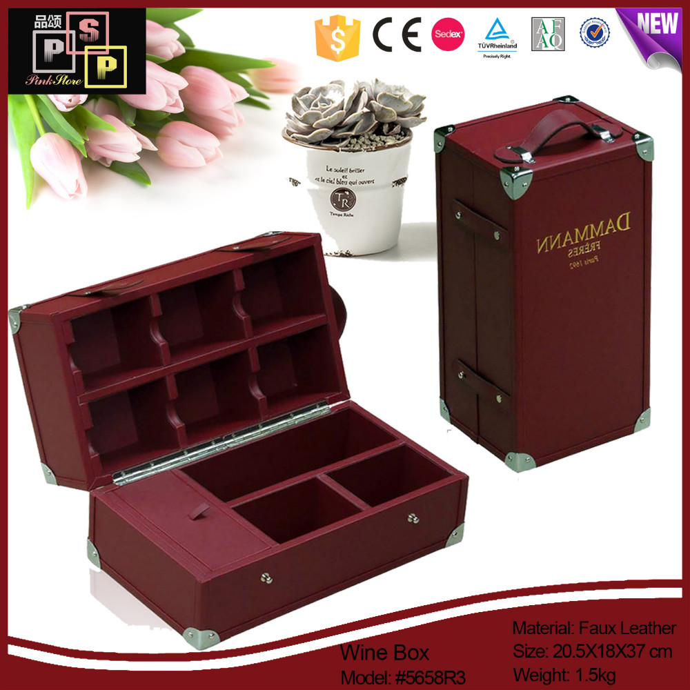 wholesale custom exclusive luxury gift leather tea packaging box organizer