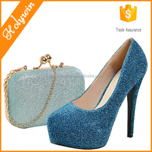 New looking turquoise shoes and bag,fancy women wedding shoes and bags in napoli