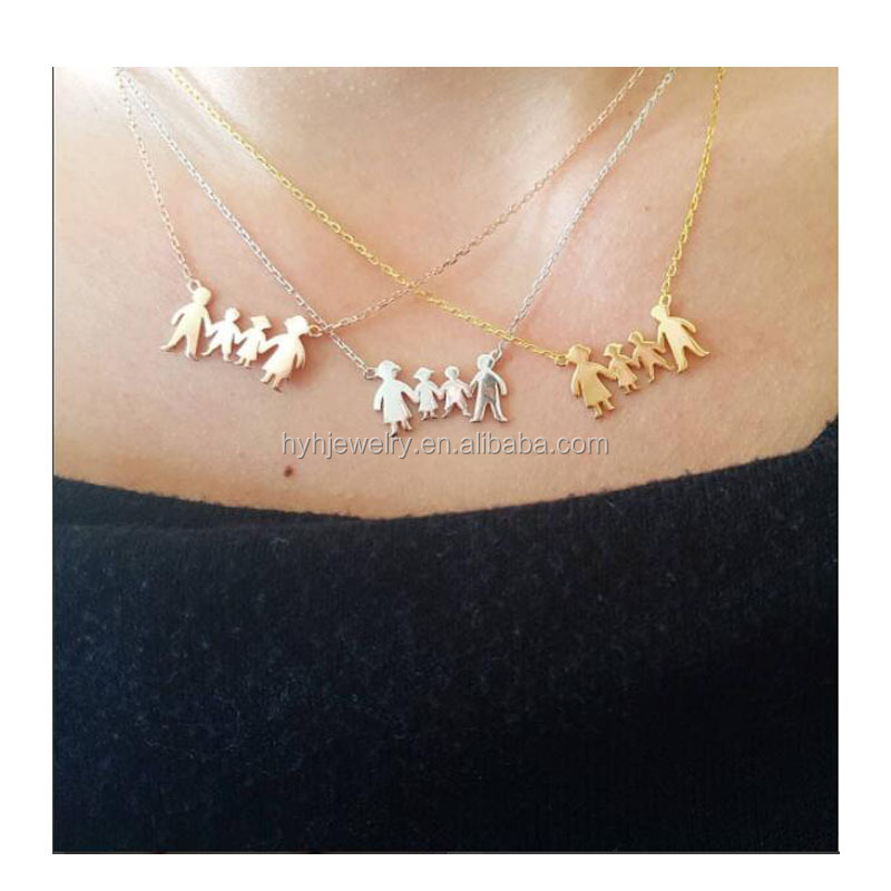 Russia hot family necklace 925 silver fancy little kids children boy and girl hand in hand figure pendant necklaces