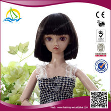 Special price and Good quality High Temperature Fiber black doll wigs
