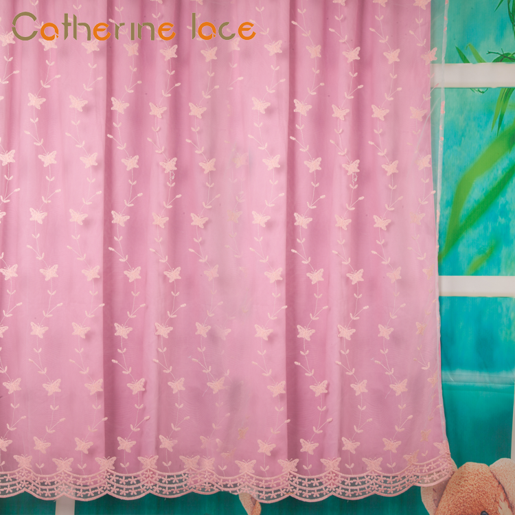 Catherine Custom Mesh Fabric Embroidered Lace Curtains For Living Room