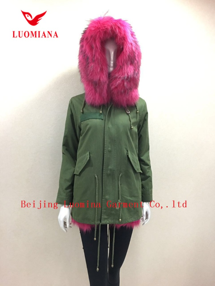 jacket parka with fur fashionable fox fur lining Army Parka hooded trimmed women coat jacket