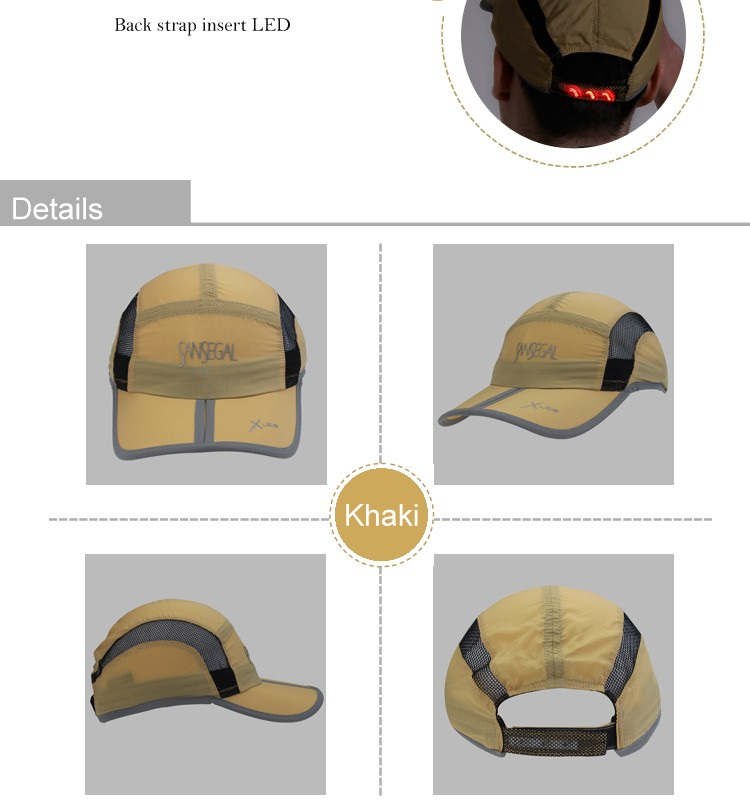 Light and Folding 5 Panel LED Moonlight Running Baseball Hat Sports Cycling Cap