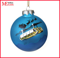 hot sale hanging glass christmas ball for decoration with christmas theme