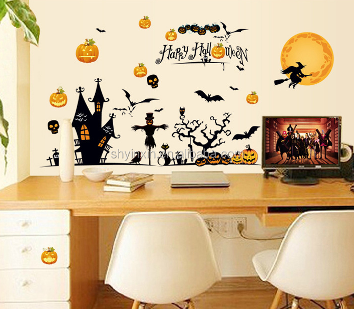 2015 new product pvc halloween sticker car window sticker custom made static cling decals