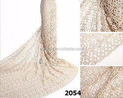 Cream wholesale colorful bridal crochet lace fabric wedding cotton guipure lace fabric for wedding dress