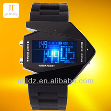 New fashion colorful aircraft shape sports led digital display watch flip watch