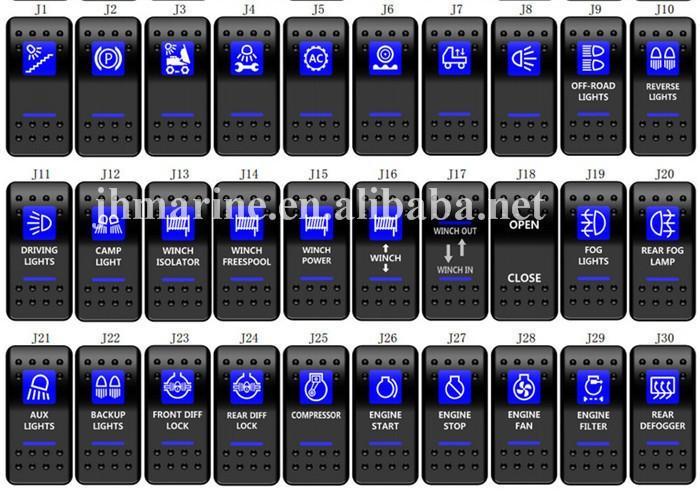 Details about  /ARB STYLE ENGINE FAN ROCKER SWITCH BLUE LED BACKLIT 4X4 4WD 12V ON//OFF SWITCH