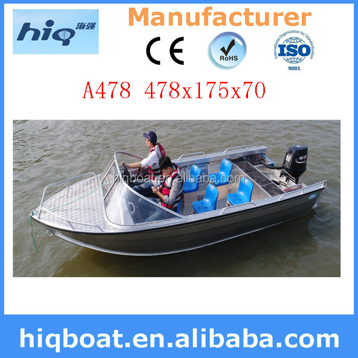 With 6 seats and front steering system welded aluminum boat