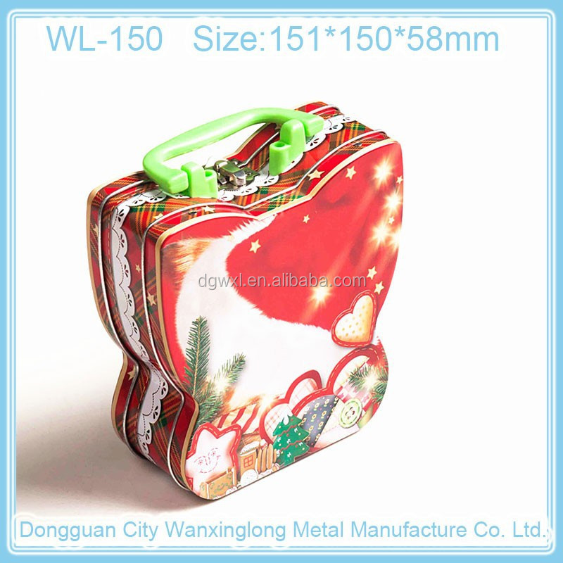 Butterfliy shaped lunch metal tin box with handle