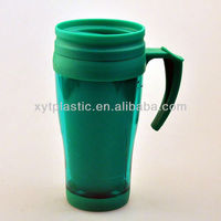 Wholesale 14oz plastic double wall coffee mugs with handle