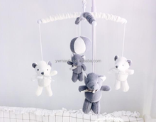 Wholesales Baby Bedding Crib Musical Mobile with Hanging Rotating Knitted Bear Toys
