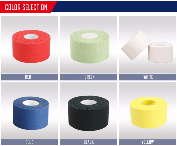 3.8cm*9.1m zinc oxide cotton fabric colorful athleticsports coach tape
