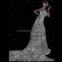 Bridal Wedding Dress Bride Hot Fix Rhinestone Motifs for Garment