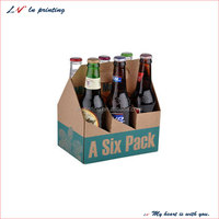 high quality custom portable type of wine cardboard for 6 bottles,wine carrier for 6 bottles,wine carrier box made in shanghai