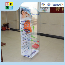 2016 portable retail display rack supermarket hanging acrylic display rack double sided feature department store display rack